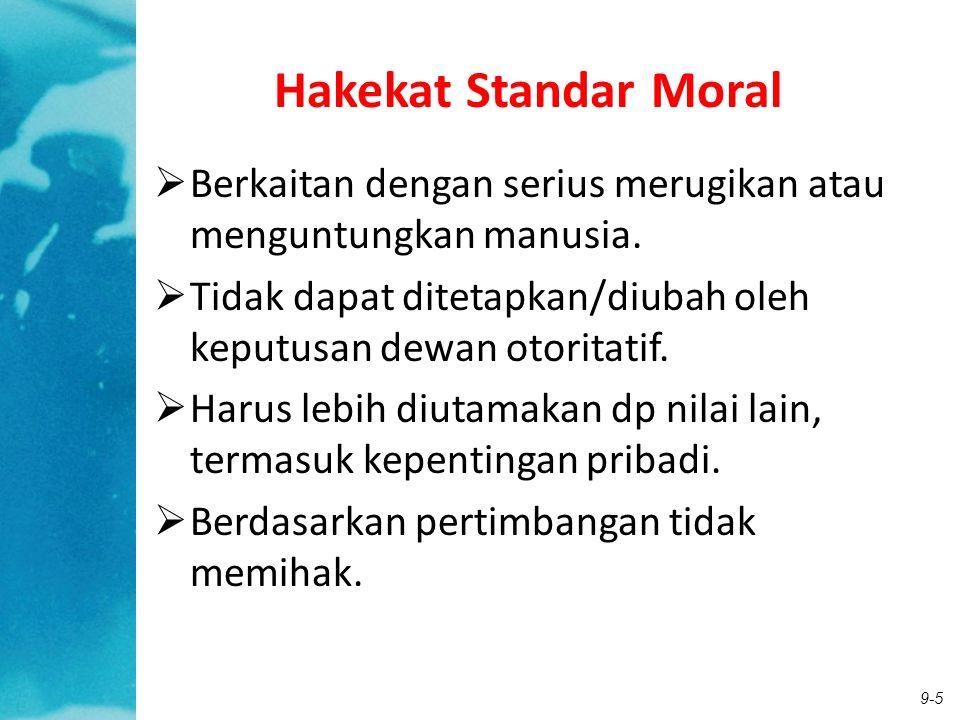 Hakekat Standar Moral Berkaitan dengan serius merugikan atau menguntungkan manusia. Tidak dapat ditetapkan/diubah oleh keputusan dewan otoritatif.