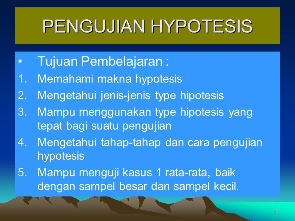 PENGUJIAN HYPOTESIS Tujuan Pembelajaran : Memahami makna hypotesis