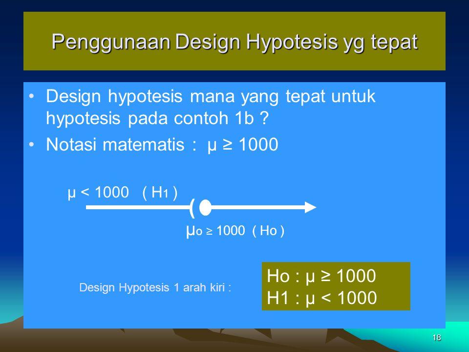 Penggunaan Design Hypotesis yg tepat
