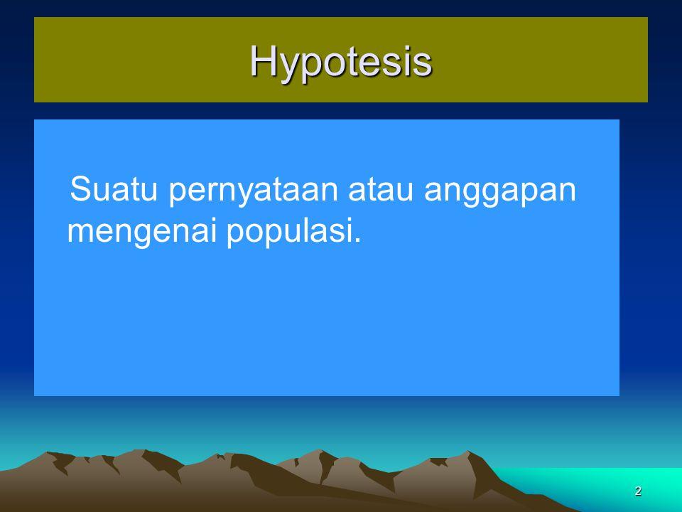 Hypotesis Suatu pernyataan atau anggapan mengenai populasi.