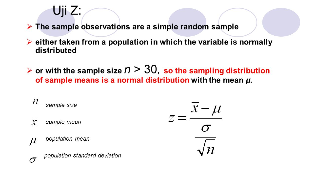Uji Z: The sample observations are a simple random sample