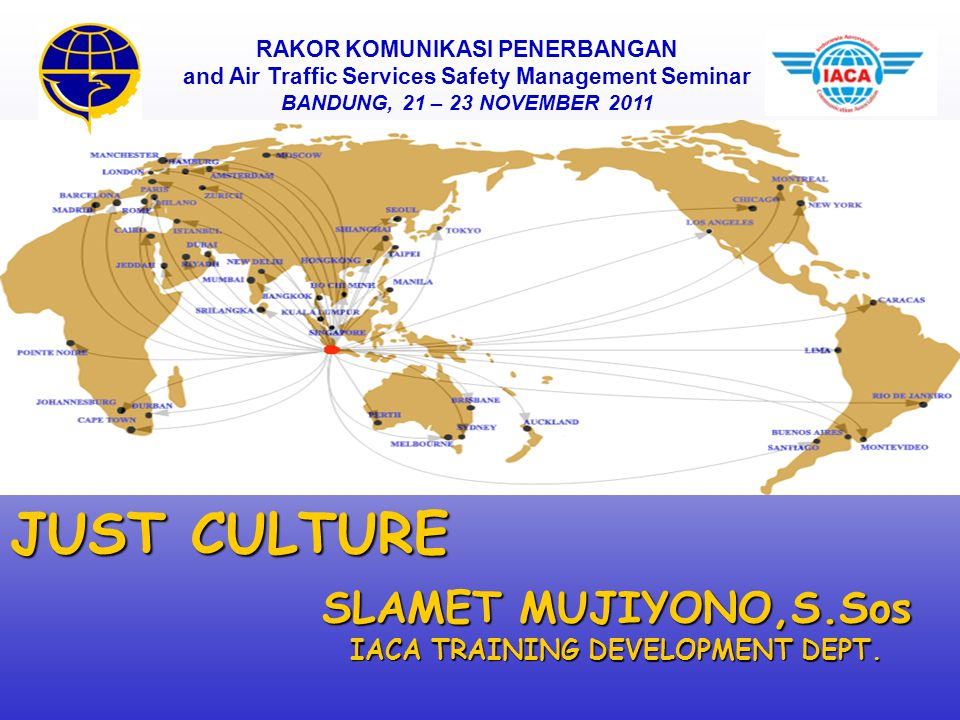 JUST CULTURE SLAMET MUJIYONO,S.Sos IACA TRAINING DEVELOPMENT DEPT.