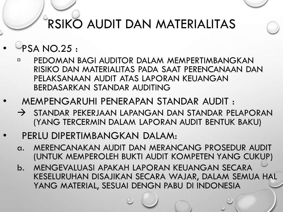 RSIKO AUDIT dan MATERIALITAS