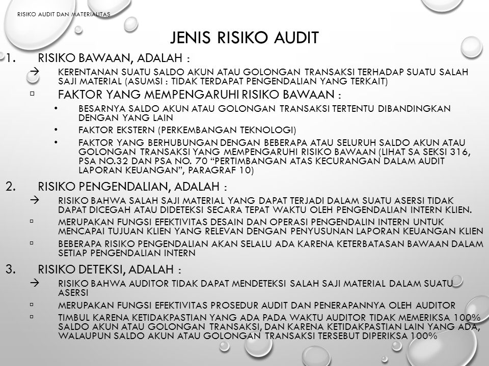 Risiko AUDIT dan MATERIALITAS