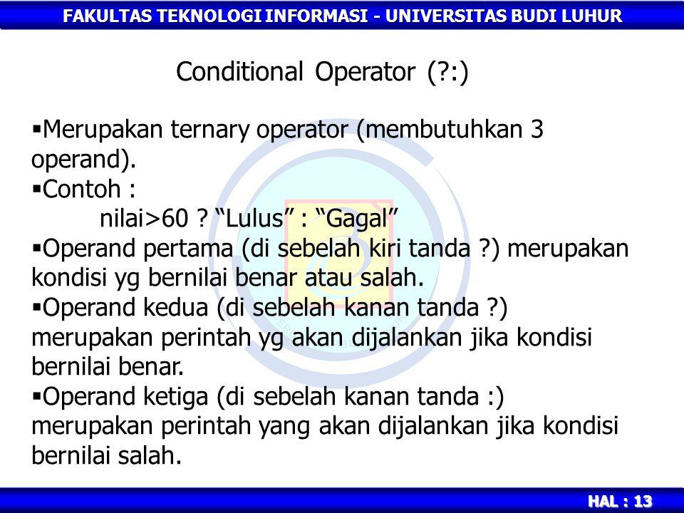 Conditional Operator ( :)