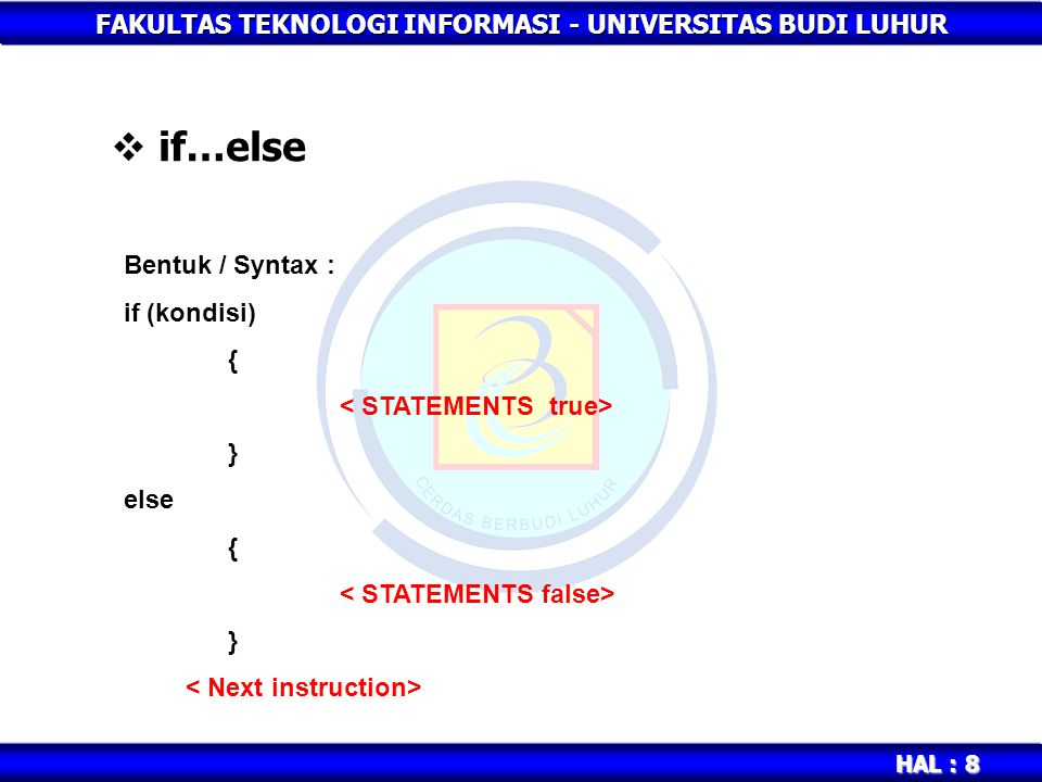 if…else Bentuk / Syntax : if (kondisi) { < STATEMENTS true> }