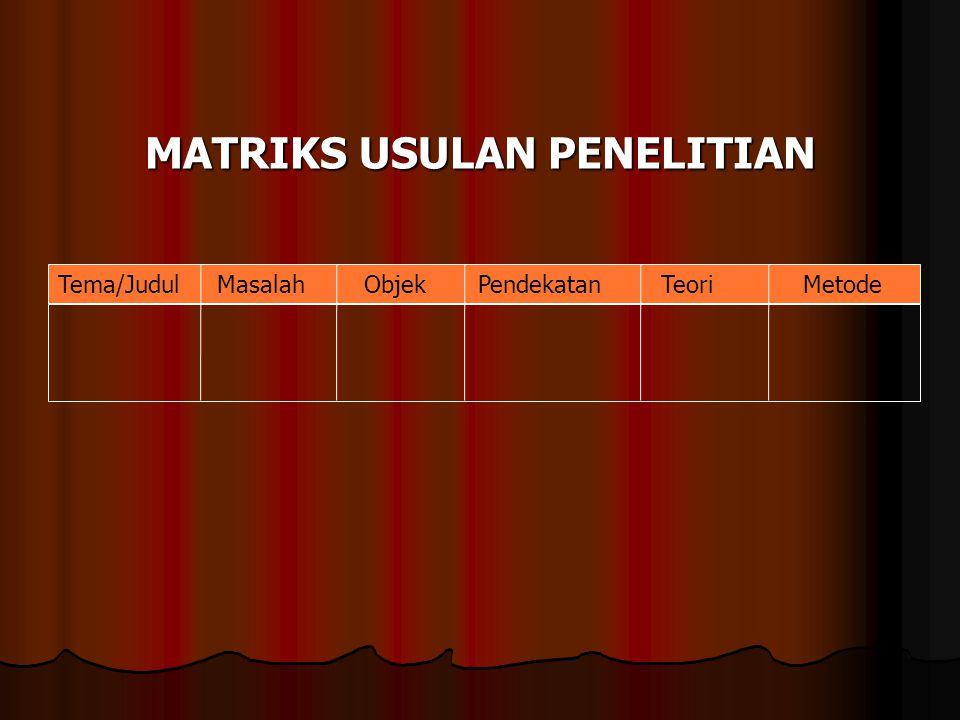 Matriks usulan Penelitian