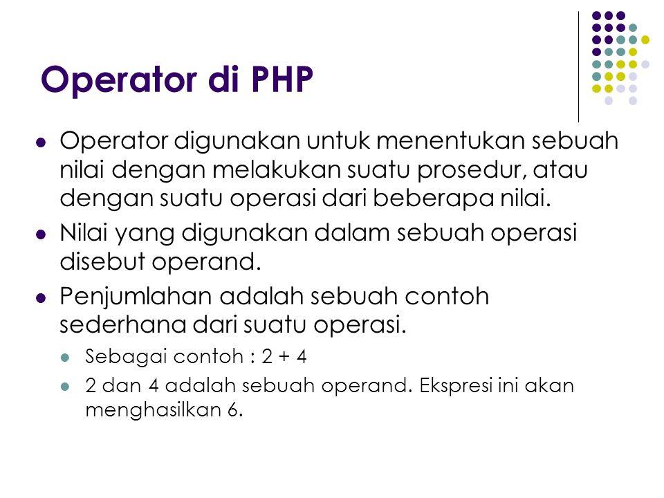 Operator di PHP Operator digunakan untuk menentukan sebuah nilai dengan melakukan suatu prosedur, atau dengan suatu operasi dari beberapa nilai.