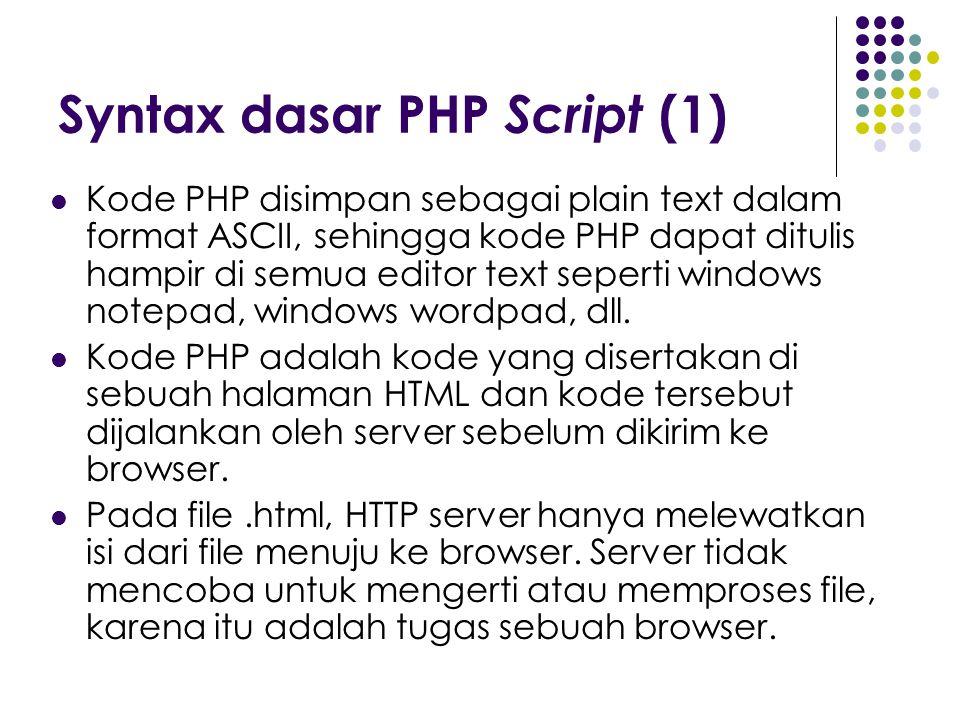 Syntax dasar PHP Script (1)