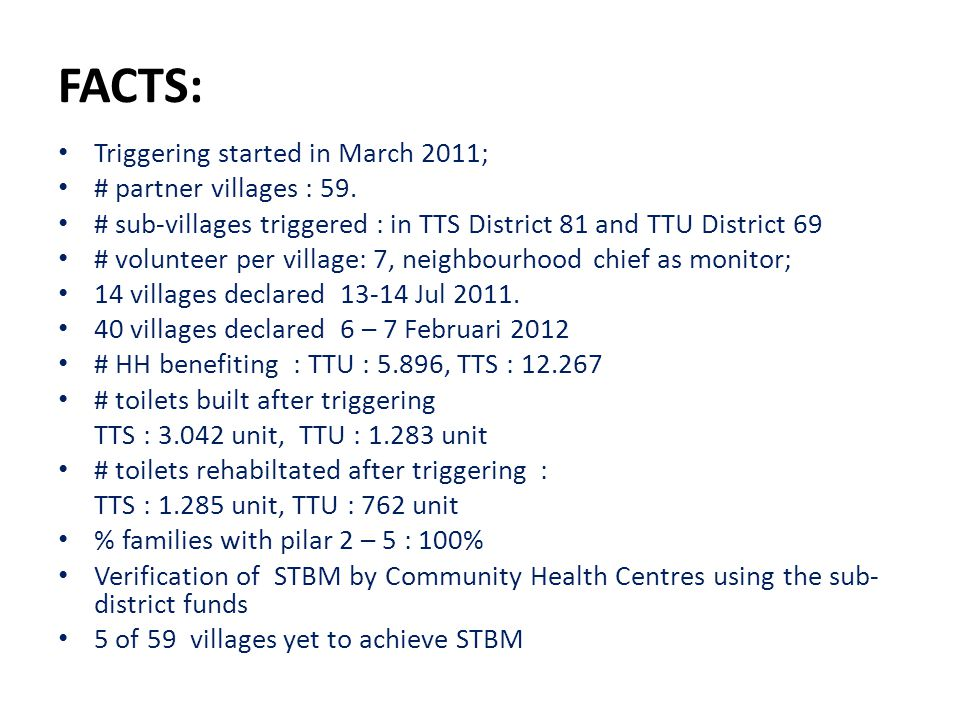 FACTS: Triggering started in March 2011; # partner villages : 59.