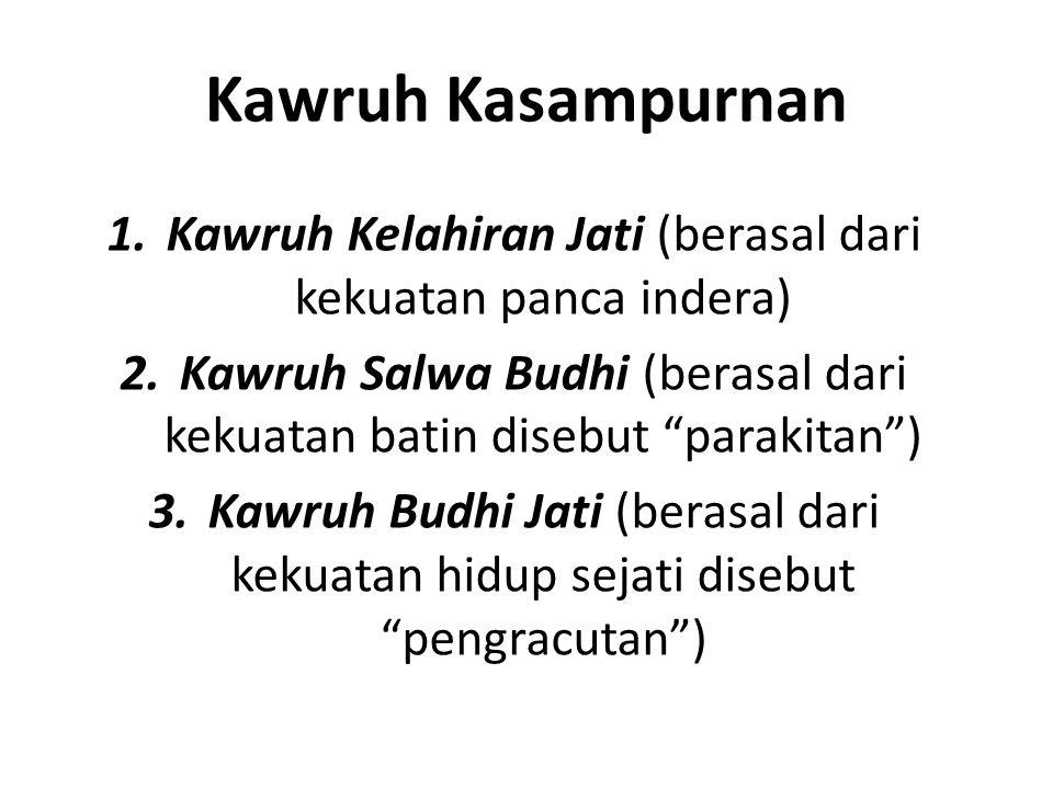 Kawruh Kasampurnan Kawruh Kelahiran Jati (berasal dari kekuatan panca indera) Kawruh Salwa Budhi (berasal dari kekuatan batin disebut parakitan )