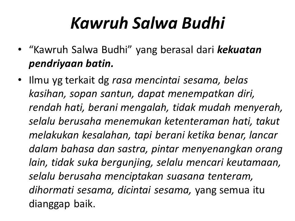 Kawruh Salwa Budhi Kawruh Salwa Budhi yang berasal dari kekuatan pendriyaan batin.