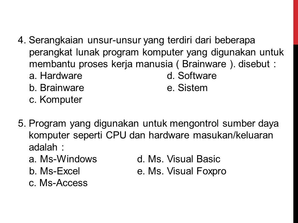 4. Serangkaian unsur-unsur yang terdiri dari beberapa perangkat lunak program komputer yang digunakan untuk membantu proses kerja manusia ( Brainware ). disebut :