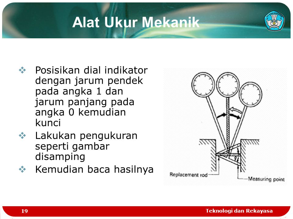 Alat Ukur Mekanik Posisikan dial indikator dengan jarum pendek pada angka 1 dan jarum panjang pada angka 0 kemudian kunci.