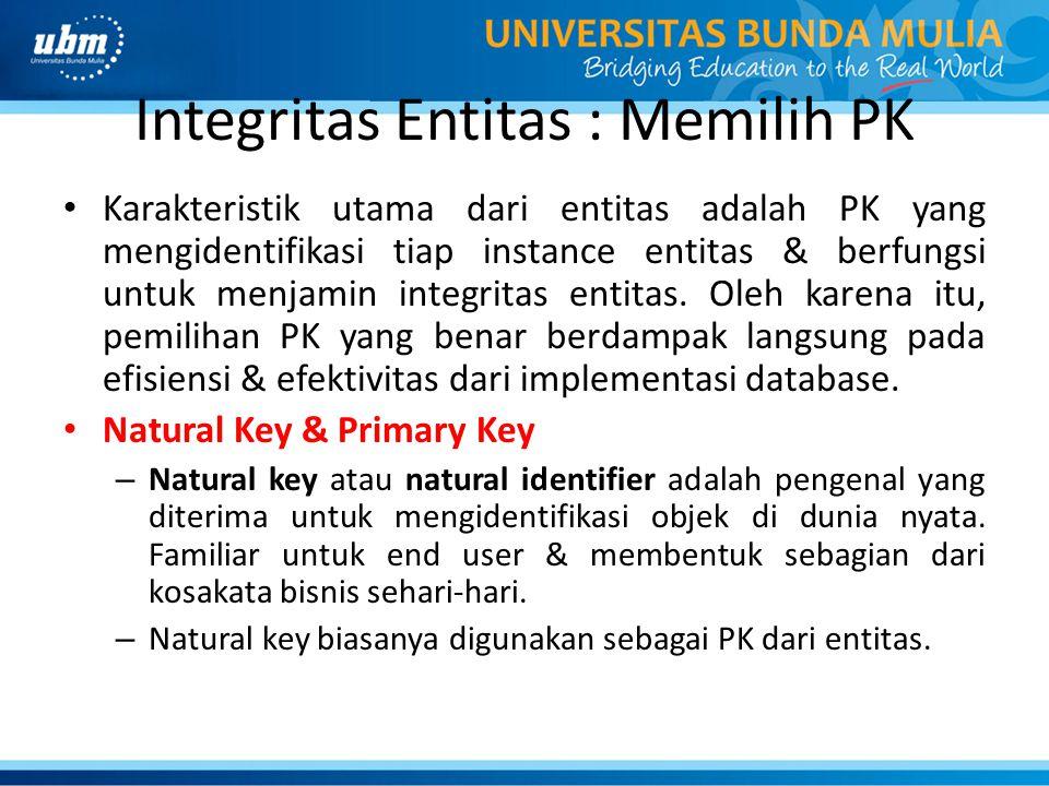 Integritas Entitas : Memilih PK