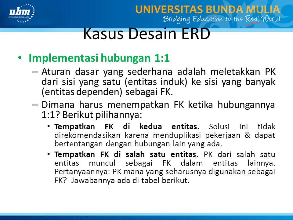 Kasus Desain ERD Implementasi hubungan 1:1