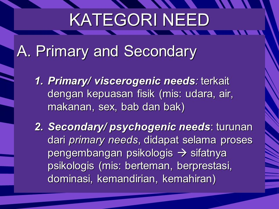 KATEGORI NEED A. Primary and Secondary
