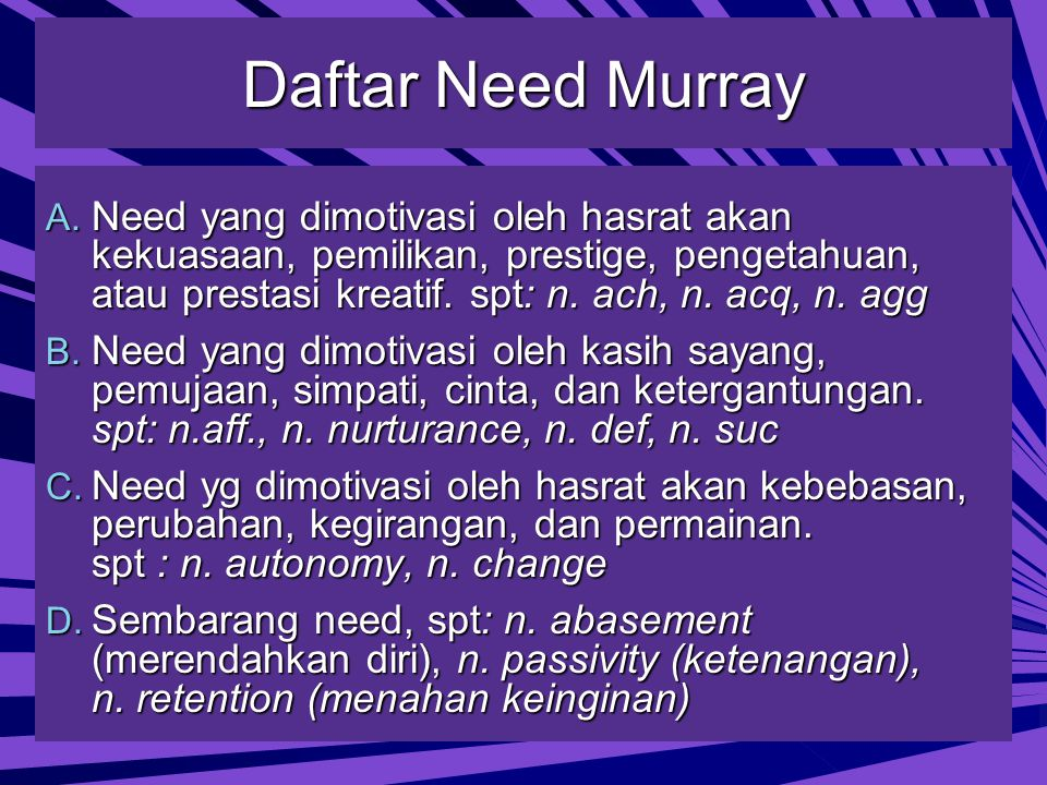 Daftar Need Murray