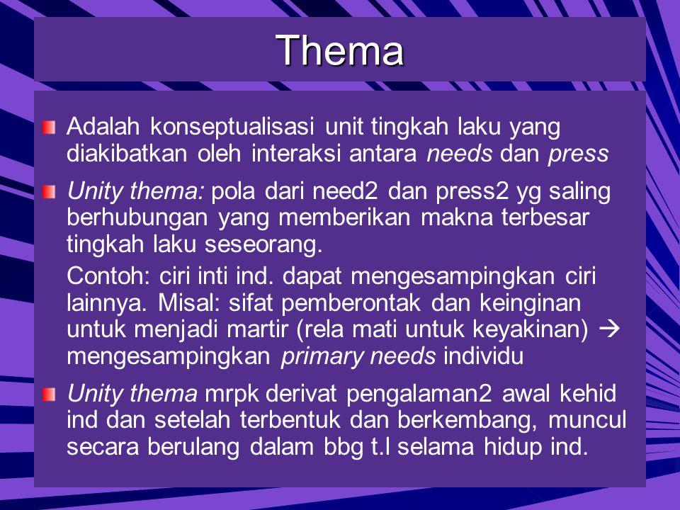 Thema Adalah konseptualisasi unit tingkah laku yang diakibatkan oleh interaksi antara needs dan press.