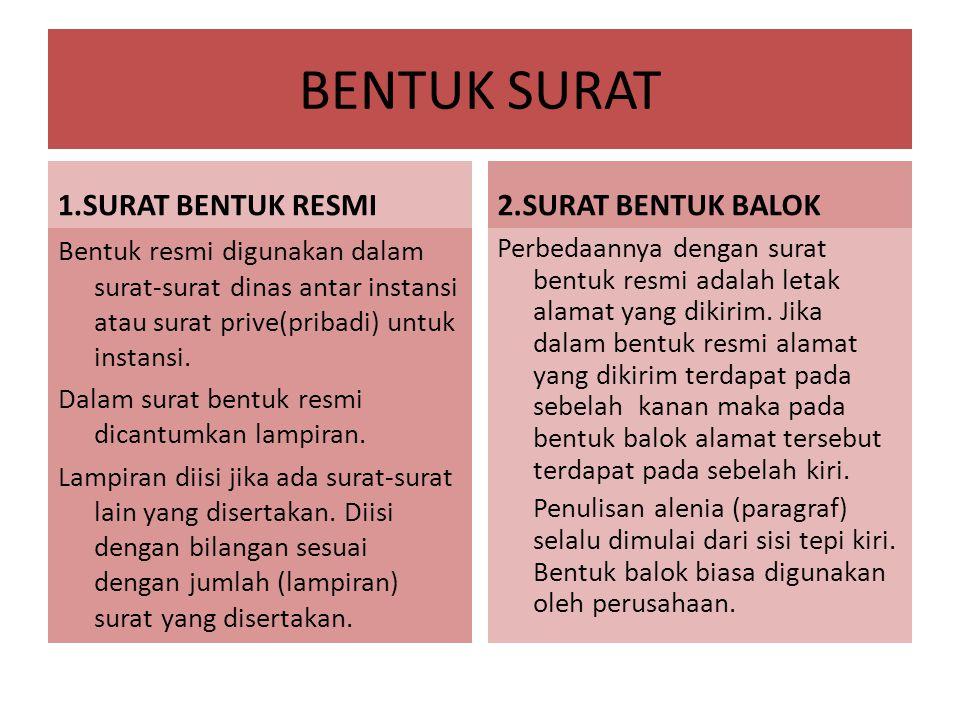BENTUK SURAT 1.SURAT BENTUK RESMI 2.SURAT BENTUK BALOK