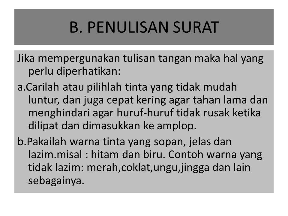 B. PENULISAN SURAT