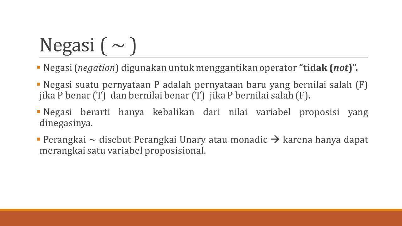 Negasi ( ~ ) Negasi (negation) digunakan untuk menggantikan operator tidak (not) .