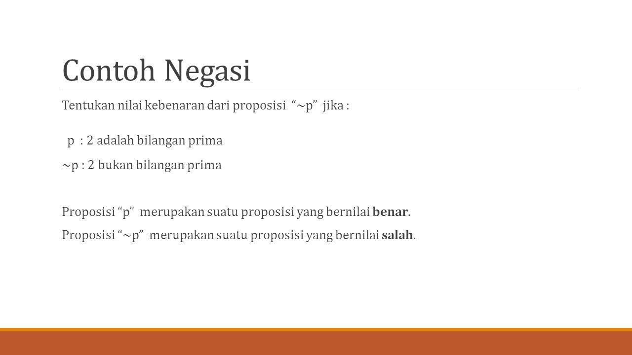 Contoh Negasi Tentukan nilai kebenaran dari proposisi ~p jika :