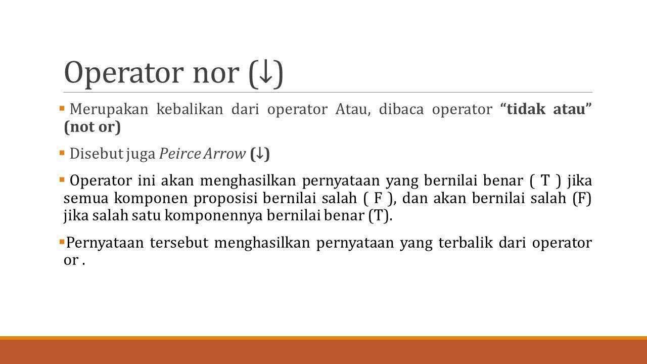 Operator nor (↓) Merupakan kebalikan dari operator Atau, dibaca operator tidak atau (not or) Disebut juga Peirce Arrow (↓)