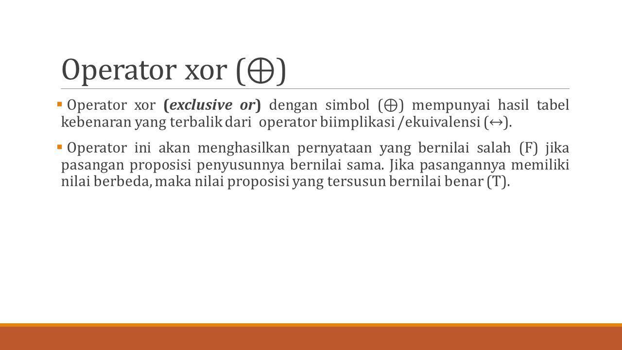 Operator xor (⊕)