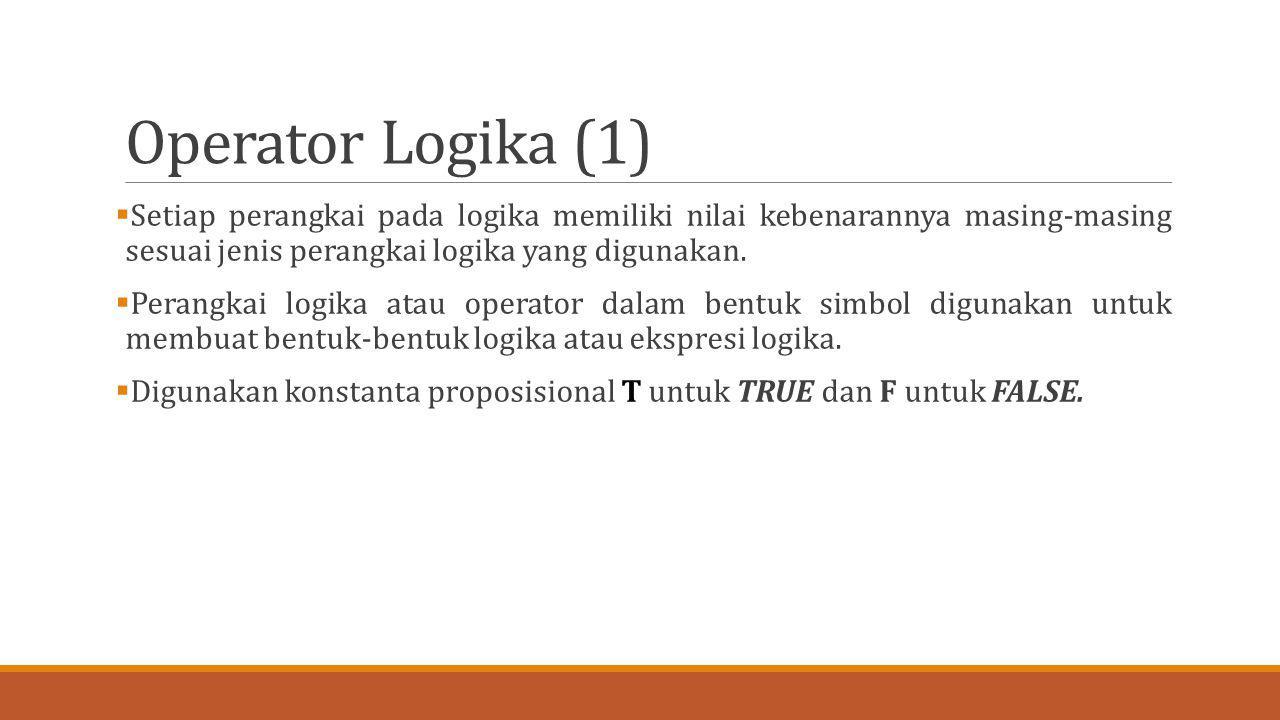 Operator Logika (1) Setiap perangkai pada logika memiliki nilai kebenarannya masing-masing sesuai jenis perangkai logika yang digunakan.