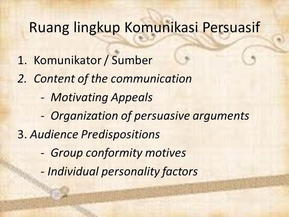 Ruang lingkup Komunikasi Persuasif
