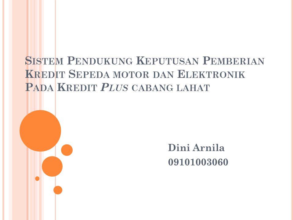 Sistem Pendukung Keputusan Pemberian Kredit Sepeda motor dan Elektronik Pada Kredit Plus cabang lahat