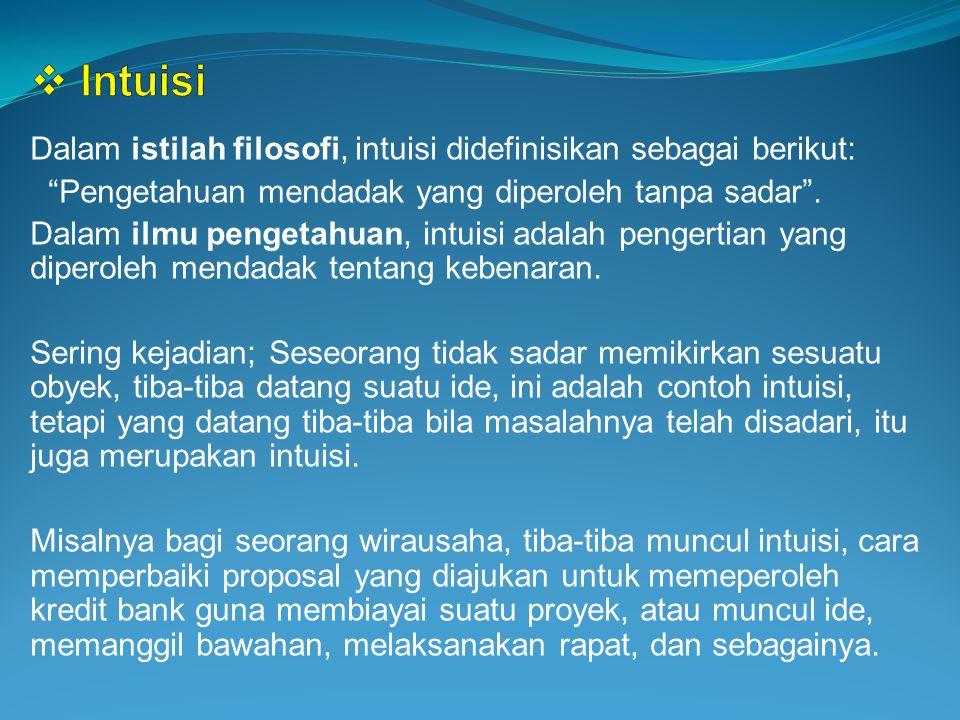 Intuisi Dalam istilah filosofi, intuisi didefinisikan sebagai berikut: