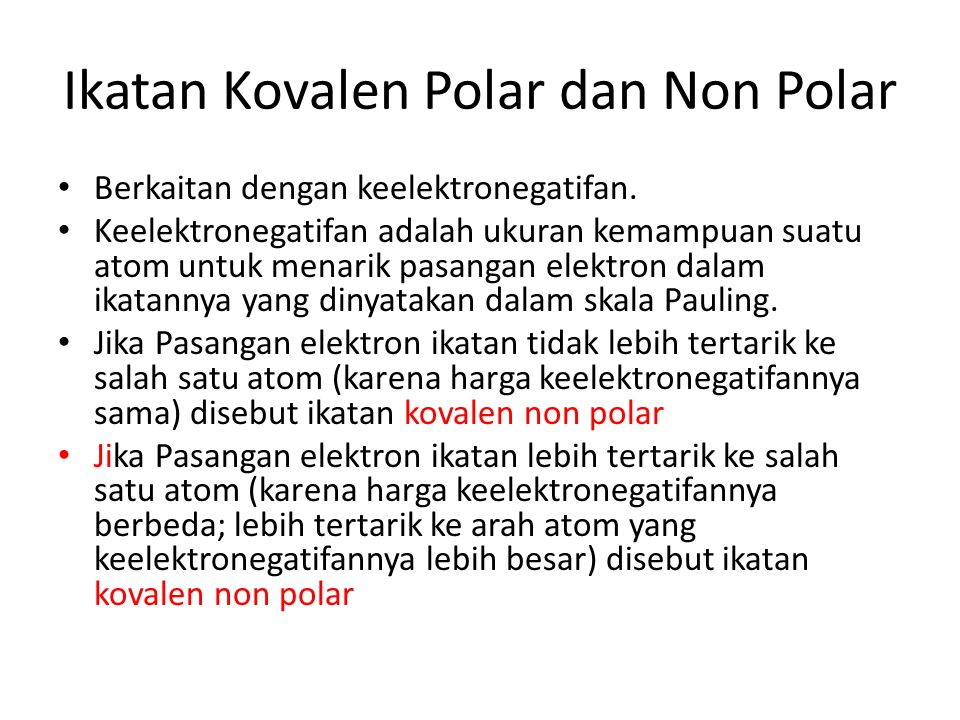 Ikatan Kovalen Polar dan Non Polar