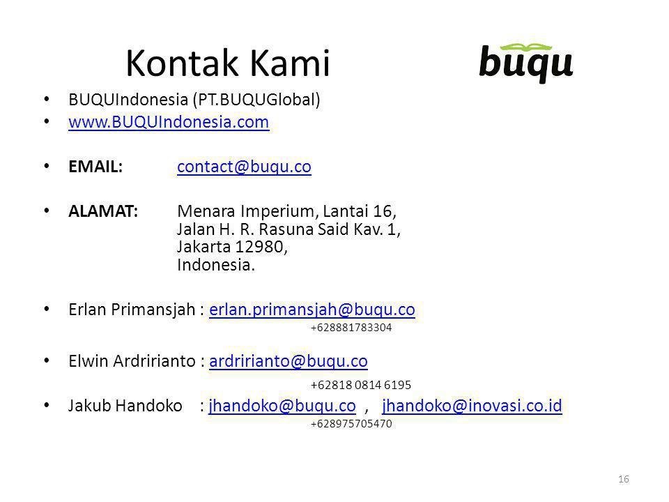 Kontak Kami BUQUIndonesia (PT.BUQUGlobal) www.BUQUIndonesia.com