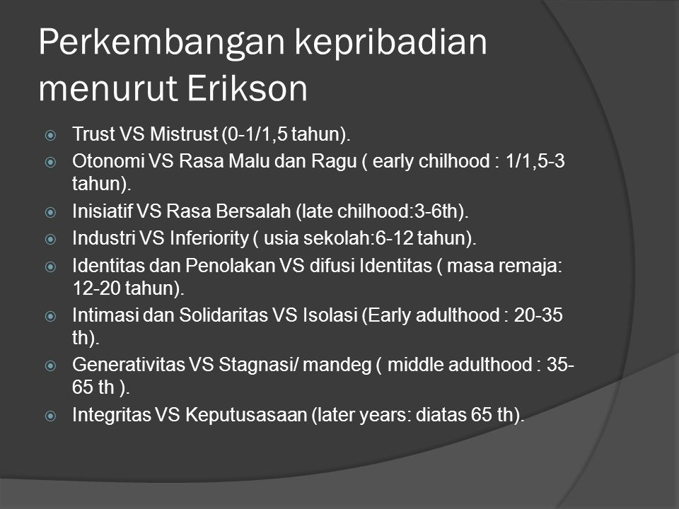 Perkembangan kepribadian menurut Erikson