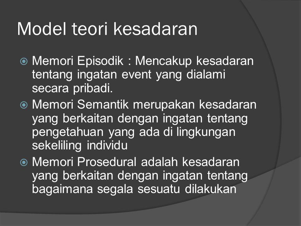 Model teori kesadaran Memori Episodik : Mencakup kesadaran tentang ingatan event yang dialami secara pribadi.