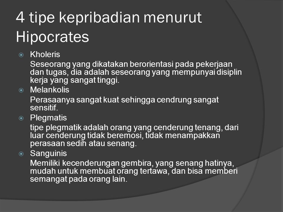 4 tipe kepribadian menurut Hipocrates