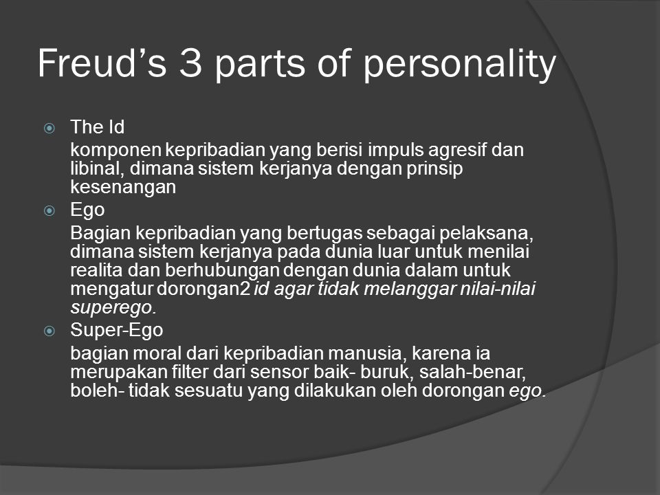 Freud's 3 parts of personality