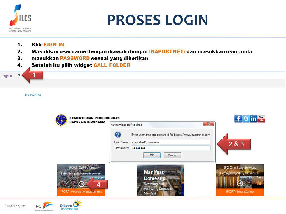PROSES LOGIN 1 2 & 3 4 Klik SIGN IN