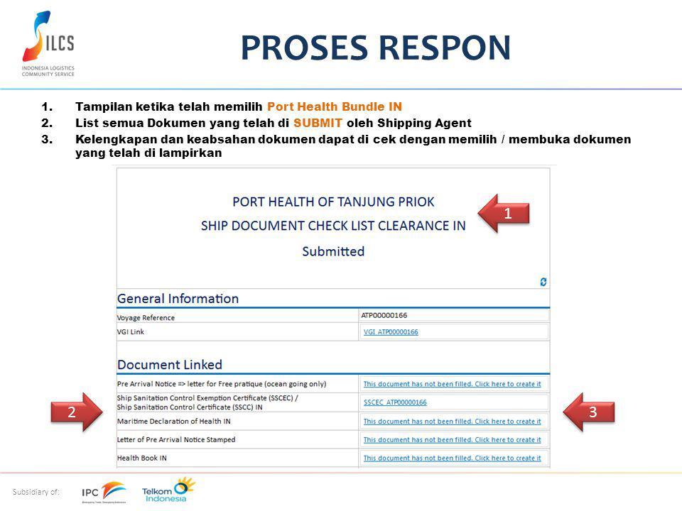 PROSES RESPON Tampilan ketika telah memilih Port Health Bundle IN. List semua Dokumen yang telah di SUBMIT oleh Shipping Agent.