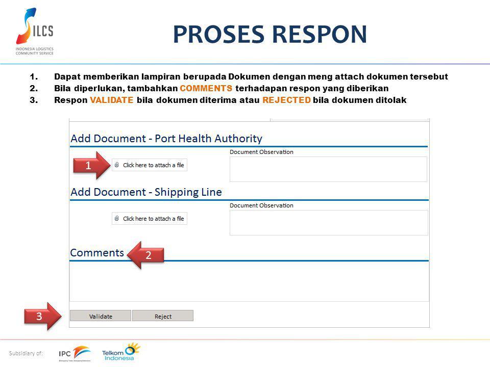 PROSES RESPON Dapat memberikan lampiran berupada Dokumen dengan meng attach dokumen tersebut.
