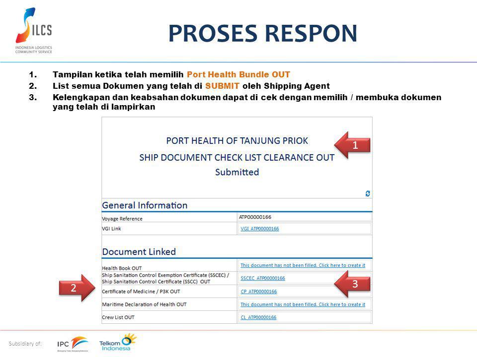 PROSES RESPON Tampilan ketika telah memilih Port Health Bundle OUT. List semua Dokumen yang telah di SUBMIT oleh Shipping Agent.