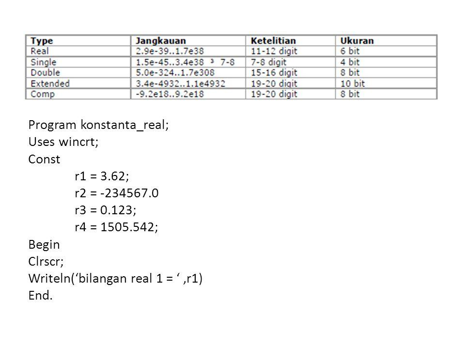 Program konstanta_real; Uses wincrt; Const r1 = 3. 62; r2 = -234567