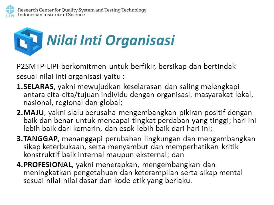 Nilai Inti Organisasi P2SMTP-LIPI berkomitmen untuk berfikir, bersikap dan bertindak. sesuai nilai inti organisasi yaitu :