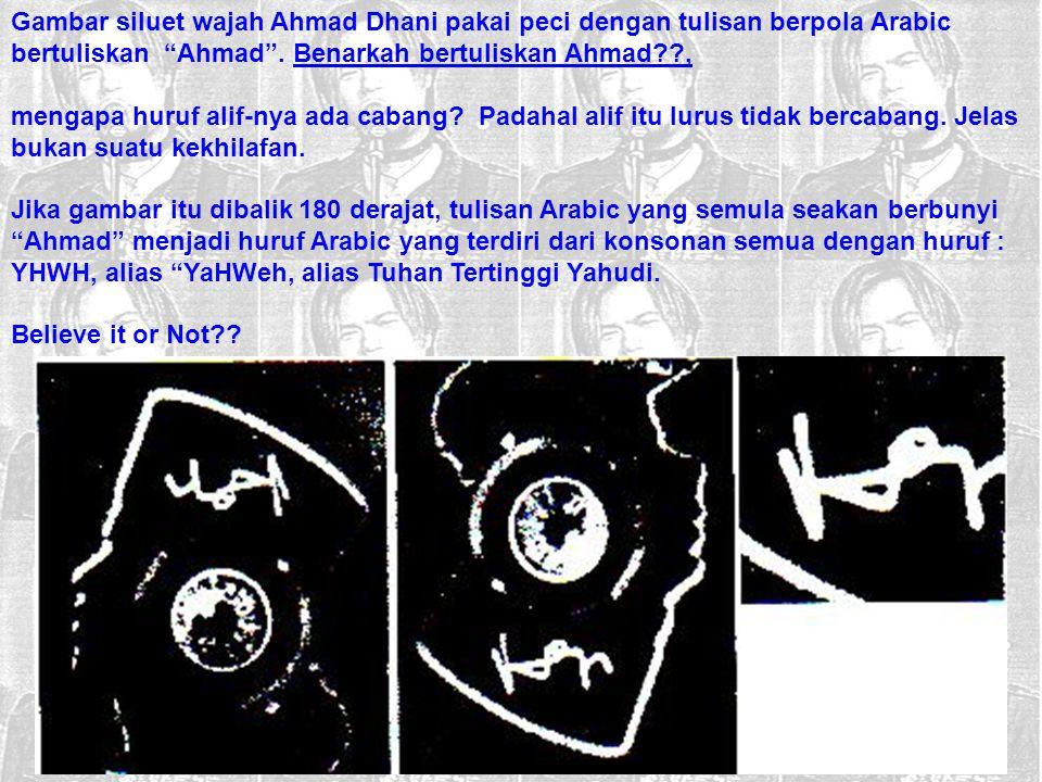 Gambar siluet wajah Ahmad Dhani pakai peci dengan tulisan berpola Arabic bertuliskan Ahmad . Benarkah bertuliskan Ahmad ,