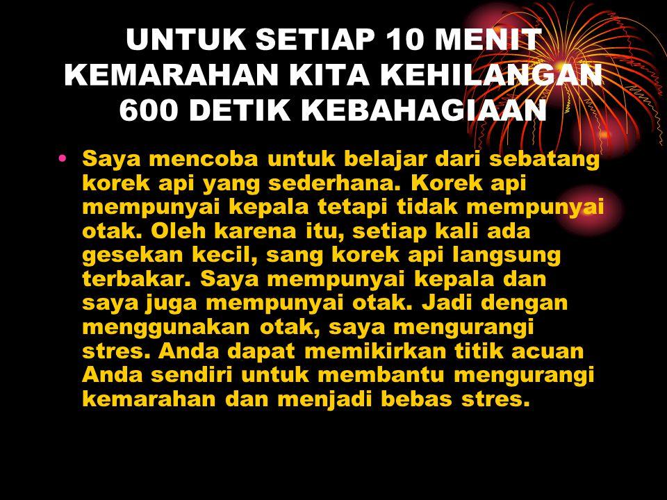 UNTUK SETIAP 10 MENIT KEMARAHAN KITA KEHILANGAN 600 DETIK KEBAHAGIAAN