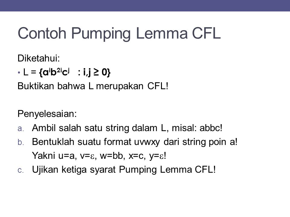 Contoh Pumping Lemma CFL