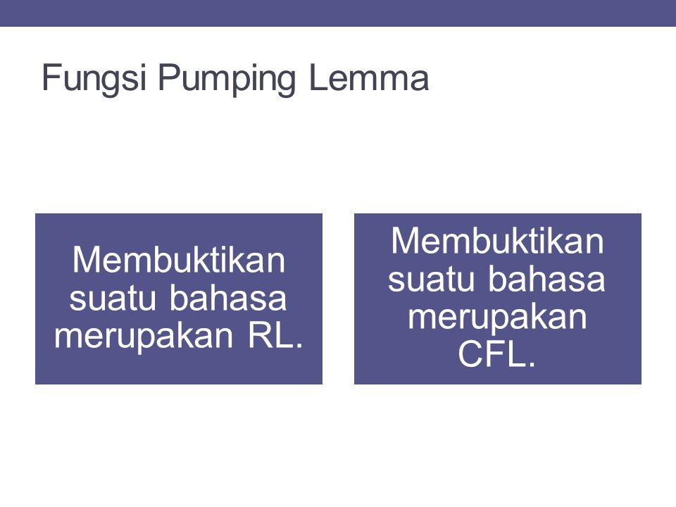 Fungsi Pumping Lemma Membuktikan suatu bahasa merupakan CFL.
