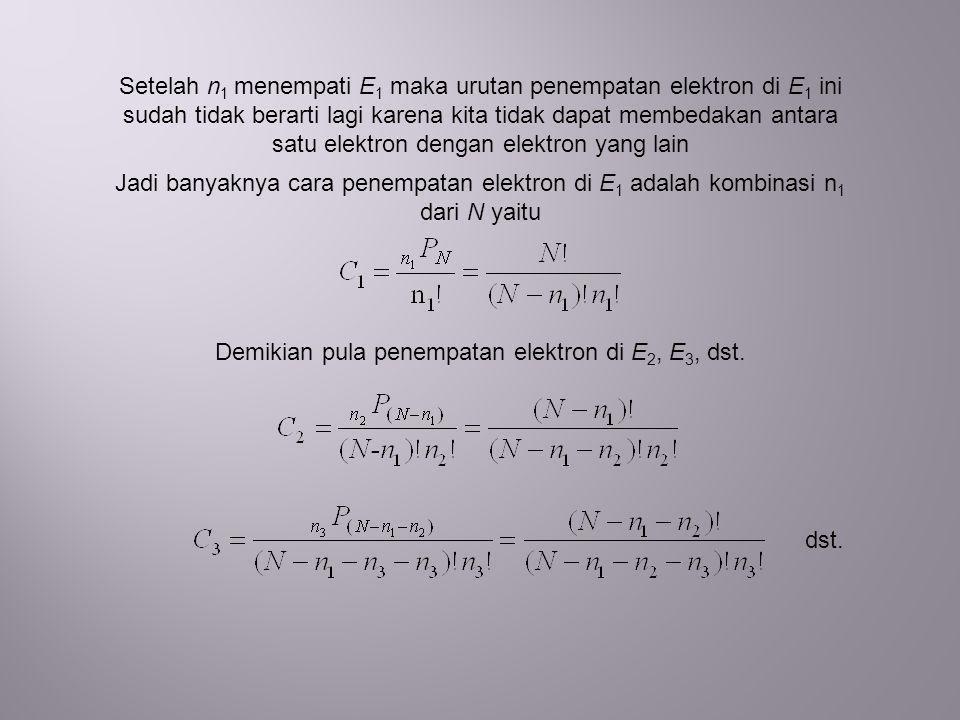 Demikian pula penempatan elektron di E2, E3, dst.